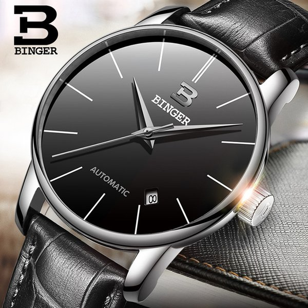 BINGER Luxury Men Classic Date automatic Mechanical Watch Self-Winding Skeleton Black Leather/Stainless Steel Strap Wristwatches