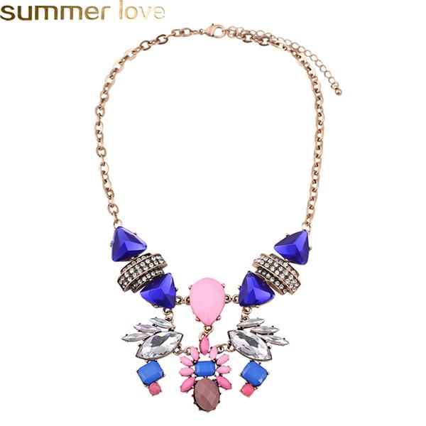 Collar de lujo de la vendimia para las mujeres piedras preciosas azules collares de cristal dama joyería de moda chapado en oro colgante corto para el partido
