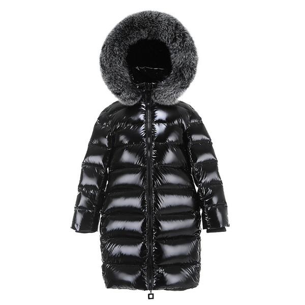 Boys Girls Long Down Jacket Children Big Fox Fur Collar Down Coat Raccoon Fur Hooded Black Jacket Children Clothes