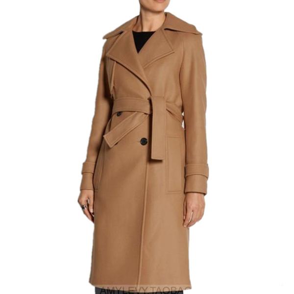 2019 winter fashion double breasted camel belt Women wool blends coat slim turn-down collar long woolen coat