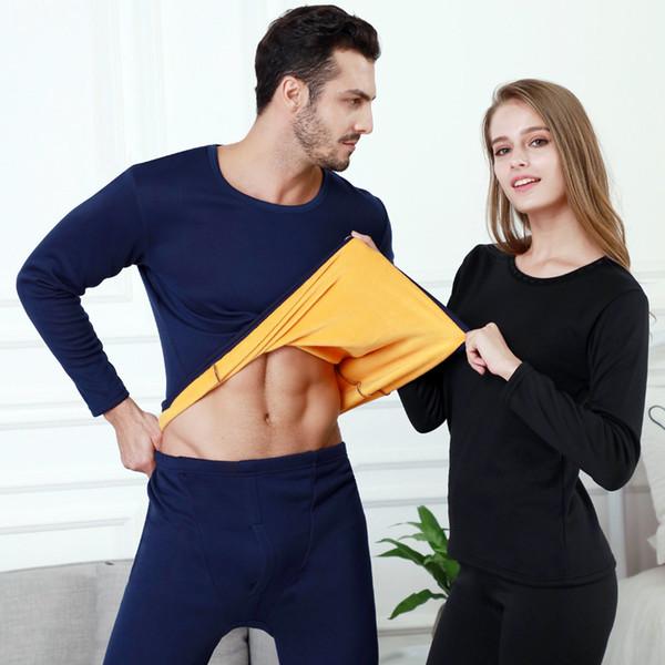 2 / Pcs Conjunto de ropa interior térmica gruesa de terciopelo para hombres Mujer Ropa de invierno cálida en capas Conjuntos de pijamas Ropa de dormir térmica Long Johns