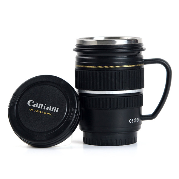 Creative SLR Camera Lens Caniam Mug Plastic Coffee MUG 220ML Cups and Mugs with Lid