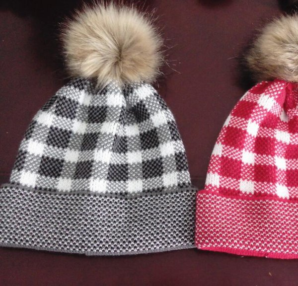 best selling Wool Knit Cap Winter Plaid Hats Women Thick Striped Caps Warm Trendy Wool Beanies Outdoor Pompom Cap GGA2706