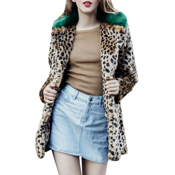 Fur coat Women Warm Winter Leopard Print Overcoat Pocket Casual Teddy Outwear Top Sweatshirt Ladies Pullover Jumper Coat7.1