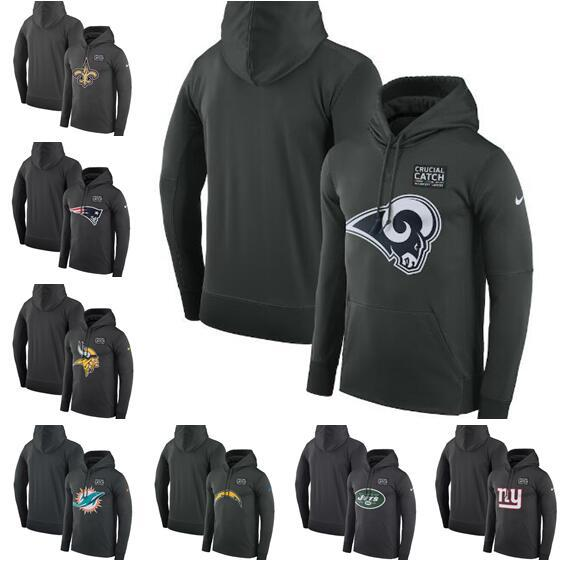 Minnesota Miami Angeles Angeles York Men Giants Jets Chargers Rams Dolphins Vikings Crucial Catch Black Performance Hoodie