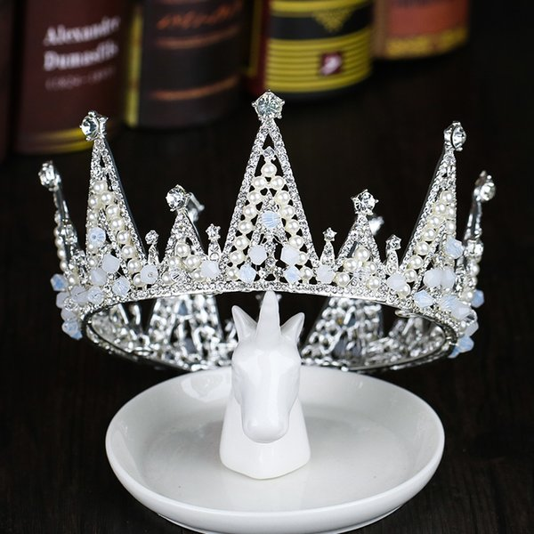 Tiaras And Crowns Luxury Pearl Princess Pageant Engagement Wedding Hair Accessories For Bridal Jewelry Shine Crystal