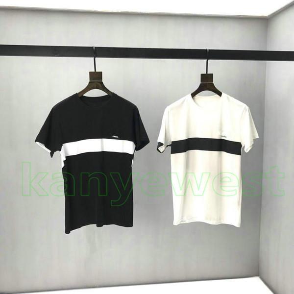 2019 nouvelle Europe paris hommes Noir Blanc Surpiqué Rayé Lettres Imprimer T Shirt HipHop Tee Haute Qualité Skateboard Cool coton designer T Shirt