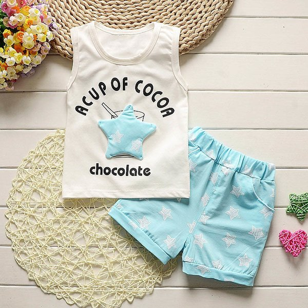 good quality Baby Boys Clothes Set Kids Sport Suit Set For Infant Boys Stars Vest+Shorts 2pcs Clothing Summer Toddler Boys Tracksuit
