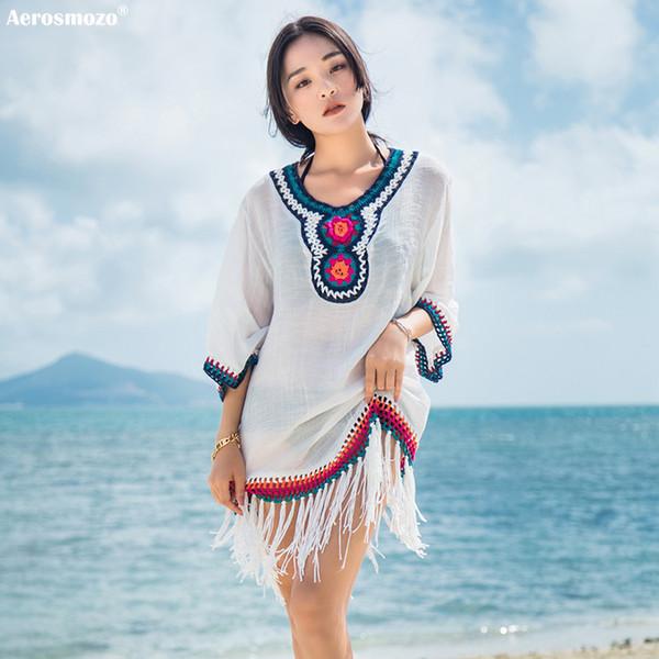 Tradizionale Tassel Sarong Linen Beach Cape Bikini Cover Up Costume da bagno donna Beach Dress Bikini Cover Ups Tunique Plage Femme