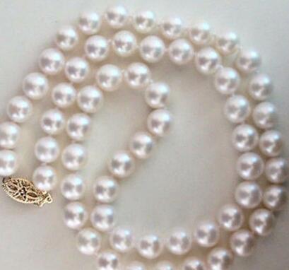 classic9-10mm южное море круглое белое жемчужное ожерелье 18 дюймов 925 серебряный