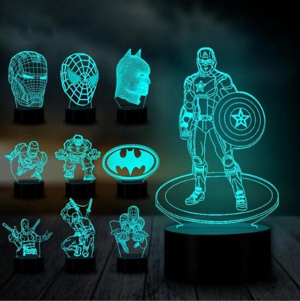 Great RGB Novelty Man America Smart Touch Control Ironman Batman LED Kids Spider Gift Marvel The Superhero Hulk Night Avengers Lamp Captain 3D Toy NwPnOX0k8Z