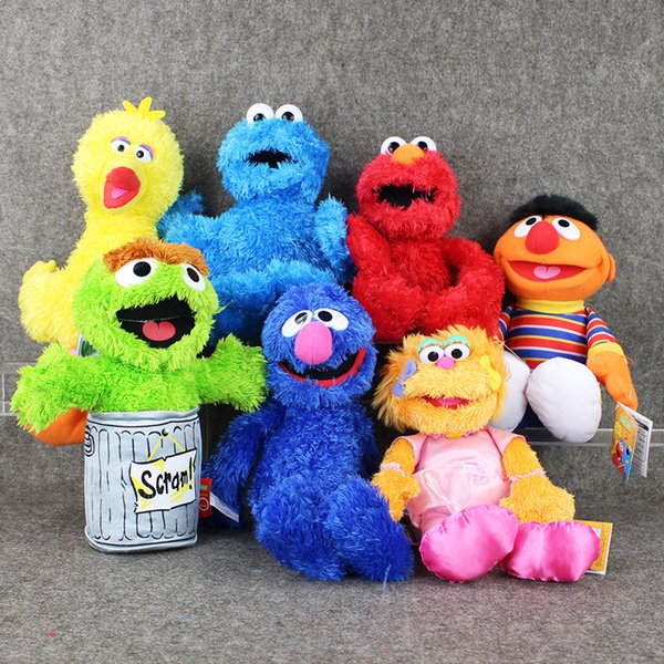 2019 7styles 27 40cm Cartoon Anime Sesame Street Elmo Oscar Cookie Grover Zoe Ernie Big Bird Stuffed Plush Toy Doll Children Gift From Lakeball