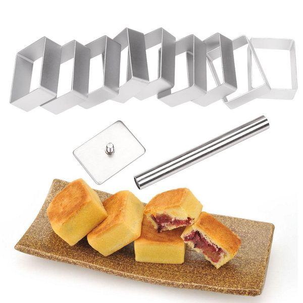 Heiße Neue 10 Stücke Rechteck Kuchen Cutter Presse Stempel Cookie Decor Fondant Kuchen DIY Form Rechteck Kuchen Cutter Presse Stempel HJ245