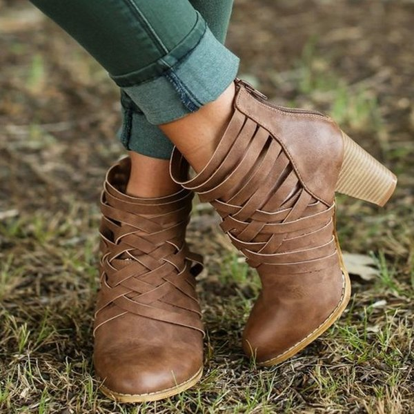 Ankle Boots Suede Leather Casual High Heels Zipper Fashion Square Rubber Khaki Pink Shoes For Women Summer Boots Plus Size 43