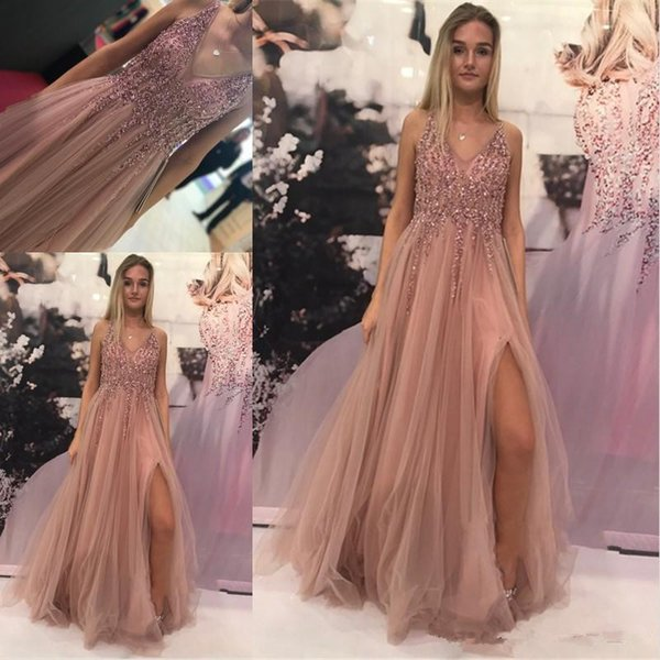 New Sexy High Slit Prom Dresses Long 2019 Vintage Blush Pink Beaded V-neck Tulle Party Gowns Women Evening Dresses