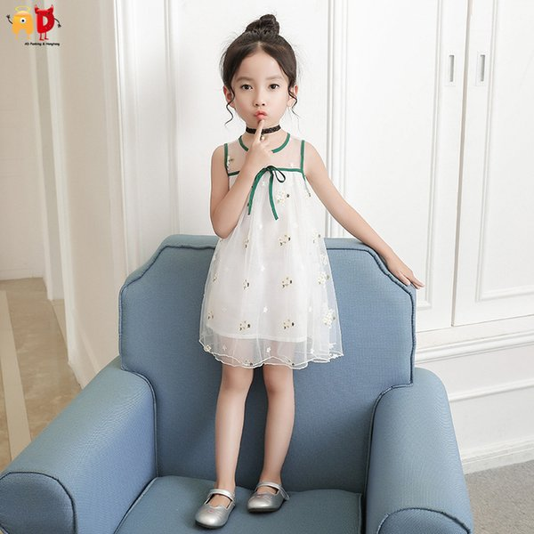 good quality Sweet Mesh Cool Fabric Design Girls Summer Dress Vacation Holiday Birthday Party Dresses Children's Clothing