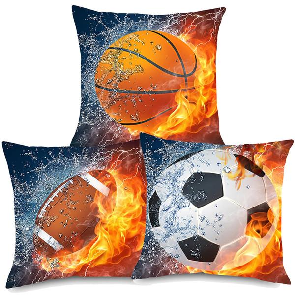 Sport Rugby Football Basketball On Fire Art Cushion Covers Modern Ball Fans Home Decorative Linen Pillow Case 45X45cm Sofa Chair Decor