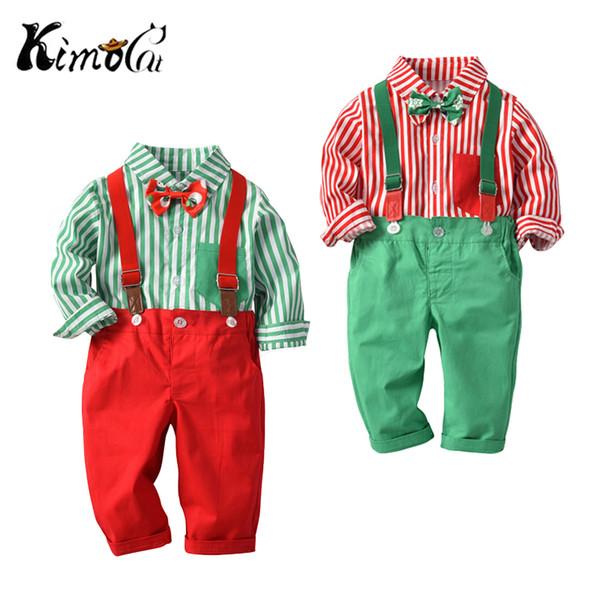 Kimocat Kids Baby Boys Christmas Clothing Set Long Sleeve Shirt+Suspender Pants 2Pcs/Set Outfits Suit for Toddler Boys