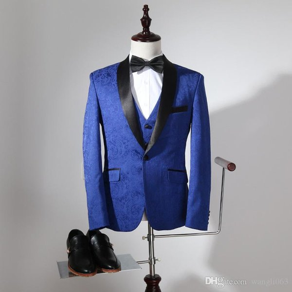 Three Piece Royal Blue Pinstripe Men Suits for Wedding Groomsmen Wear 2019 Black Shawl Lapel Classic Style Groom Tuxedos Jacket Pants Vest