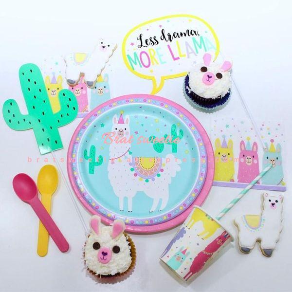 LLama Alpaca Theme Plato de papel desechable Mantel Photobooth Atrezzo para decoraciones de fiesta de cumpleaños Baby Shower Supplies