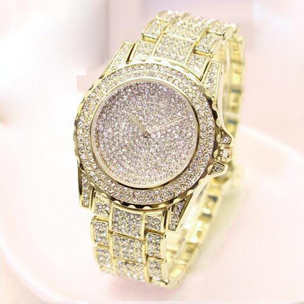 Bayanlar Bilek Saatler Elbise Altın İzle Kadınlar Kristal Elmas Saatler Paslanmaz Çelik Gümüş Saat Kadınlar Montre Femme 2019