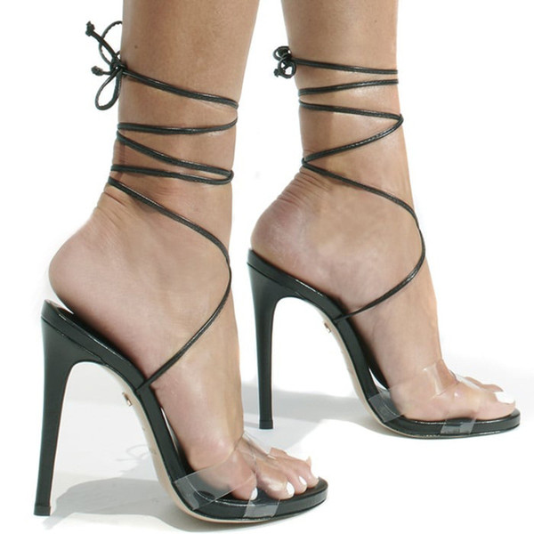 2019 New Fashion super high heels black nude PVC ankle strap Customized women wedding sandals sexy lady party shoes free shipping