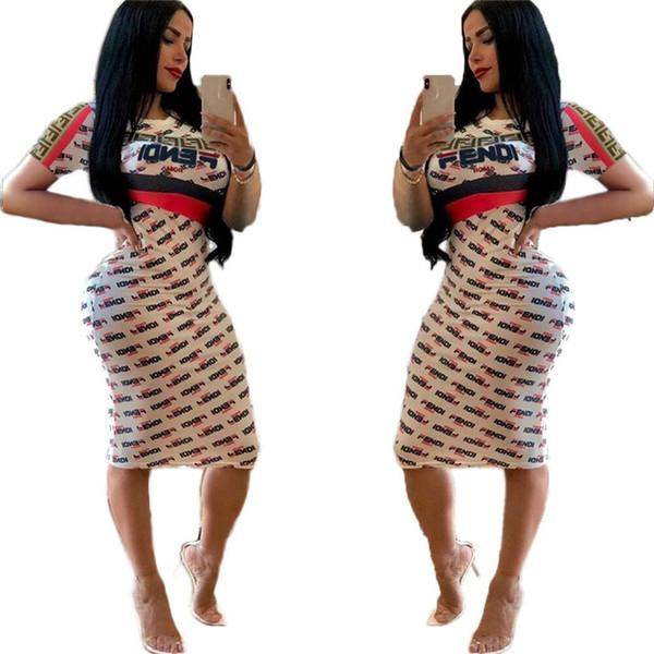 Estate FF lettera stampata donne Bodycon Abiti Abito manica corta lunghezza del ginocchio Gonne le signore delle ragazze Fashion Night Club vestiti S-XL C41501