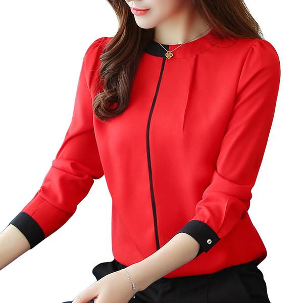 Camicetta donna chiffon camicetta 2018 manica lunga donna rossa Abbigliamento donna camicetta donna top donna Camicetta donna Blusas A91 30 MX19070402