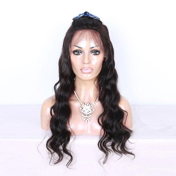 Parrucca piena del merletto dell'onda del corpo a buon mercato capelli umani nero Malesia Remy pre pizzicata parrucca piena del pizzo glueless bagnata e ondulata densità 150
