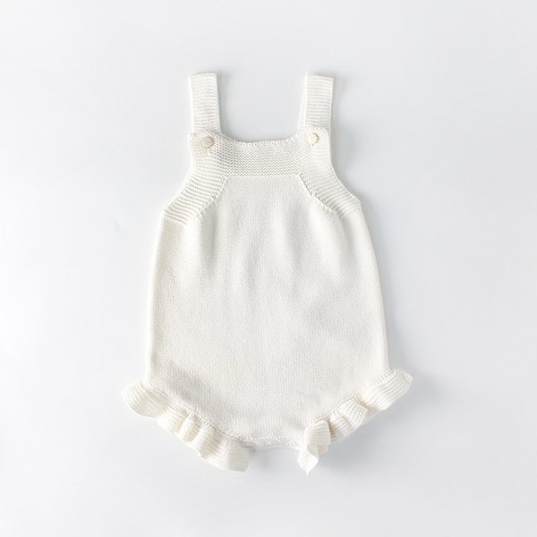 INS Infant Knit Romper Spring autumn Flouncing Knitting baby girls jumpsuit cute Newborn Suspender Onesie C5077