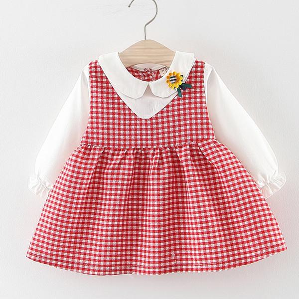 Crianças da criança do bebê falso dois vestidos meninas princesa vestido de festa (0m-2y) Crianças de manga longa da boneca colarinho xadrez vestido de girassol