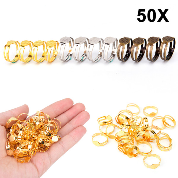 50pcs Adjustable 8mm Flat Pad Bases Ring Finding Blank Rings Base Ring Blanks Settings For Jewelry Making Diy Accessories