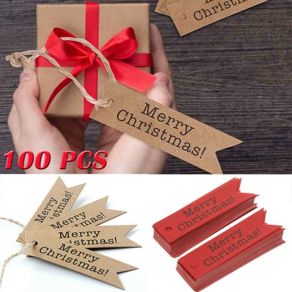 Ücretsiz nakliye 100pcs Kraft Kağıt asın Etiketler Etiket Noel Hediye Kartı Dize Merry Christmas Dekor