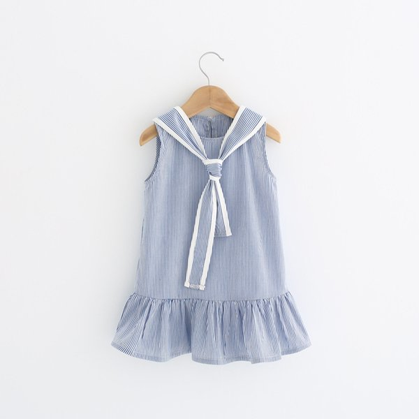 Girls striped preppy style summer dresses kids sleeveless new fashion dress baby casual clothes children 2-7 years