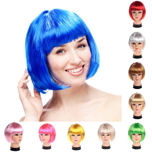 Colorful Short Wig Christmas Party Wig Decoration Carnival Christmas Masquerade Hairpiece Cartoon Role Cosplay Student Hairpiece
