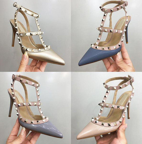 Free shipping woman party fashion rivets shoes girls sexy pointed toe High heels Roman sandals with a single shoes wedding shoes