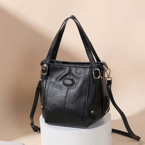 Pop2019 Woman Season The Tide Barrel Package Genuine Leather Handbag Cowhide Single Shoulder Bag