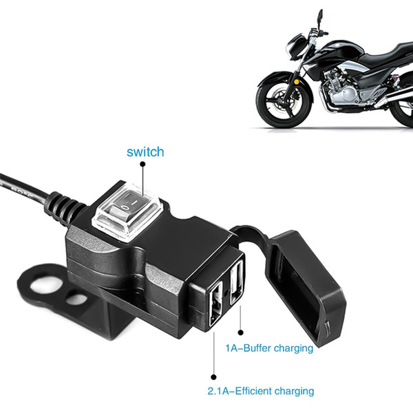 Dual USB Port 12V Wasserdicht Motorrad Motorrad Lenker Ladegerät 5V 1A / 2.1A Adapter Netzteil Buchse für Handy