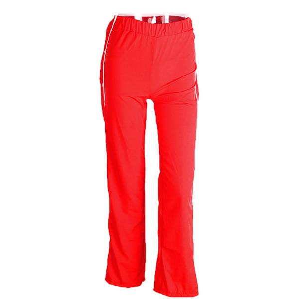 Pantalones anchos de color para mujer Pantalón ancho Botones laterales divididos Jogger Moda Pantalones casuales (M, rojo)