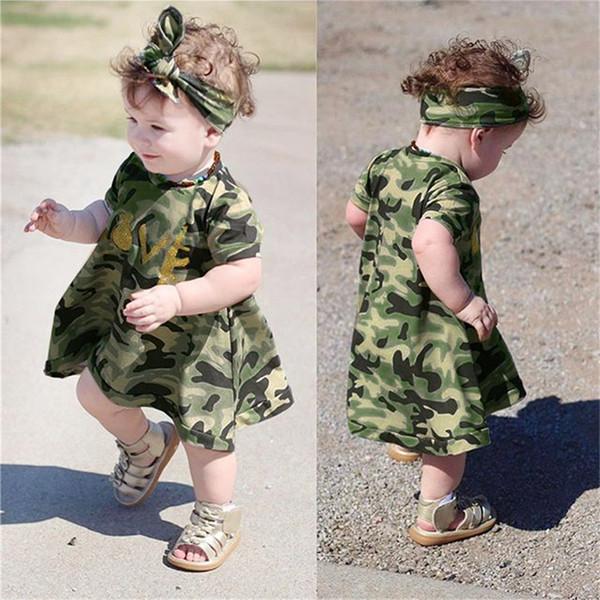 19be1115736e3 2Pcs Summer Girls Dress Toddler Kids Baby Girls Short Sleeve Camouflage  Dress+Headband Casual Dress