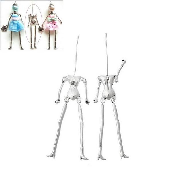 LASPERAL Human Body Skeleton Pendants Fit Doll Making DIY Charm Necklace Silver Tone Kids Toy Dolls DIY 11.5cm x1.8cm,5PCs