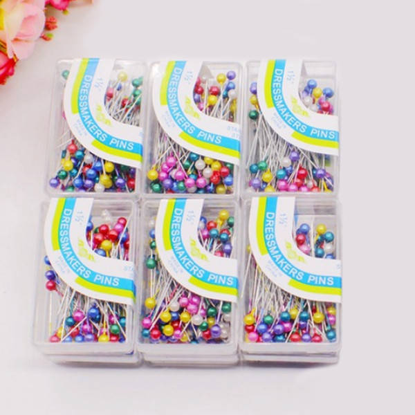 New 100PCS/lot Pearl Head Florists Sewing Pin Dressmaking Pins Sewing Tools Weddings Corsage DIY Colorful Round High Quality