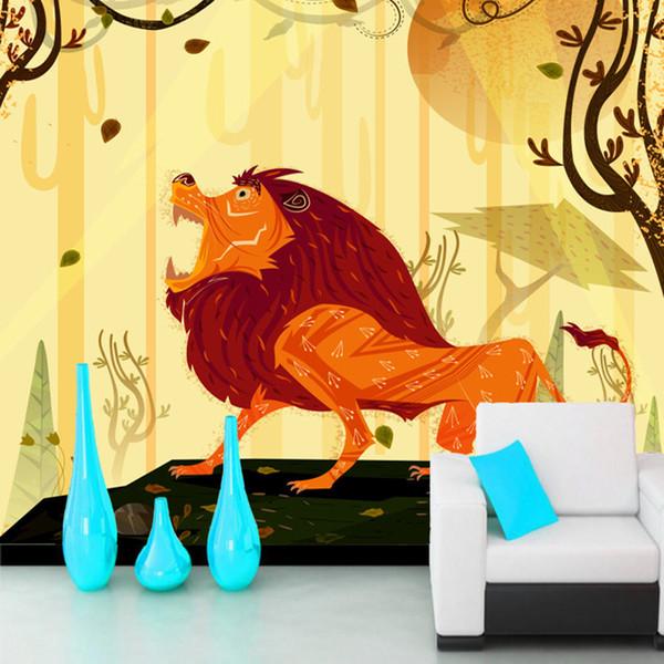 Leão abstrato dos desenhos animados 3d crianças papel de parede mural papel de parede, sala de estar sofá TV parede quarto papéis de parede decoração da sua casa