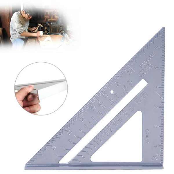 Gauges 7 Inch Aluminum Alloy Measuring Ruler Speed Square Roofing Triangle Angle Protractor Trammel Measuring Tools For Carpenter