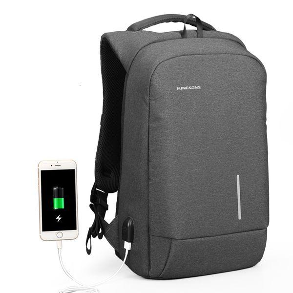 Kingsons Backpack Men 15.6 Inch Laptop Anti Theft Bagpack USB Charging Mini Back Pack for Teenager Boys Big School Business BagMX190905