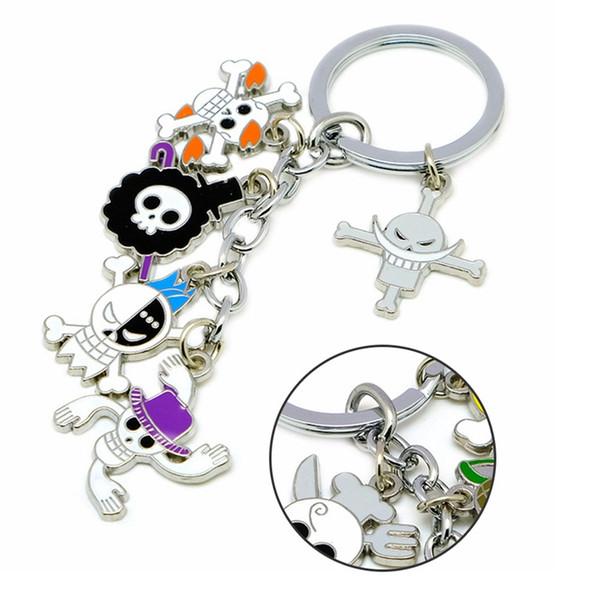 Japan Anime One Piece Keychain Car Bags Charm Key Chains Luffy Metal Pirates Skeleton Pendant Keyring Holder Pendant Jewelry