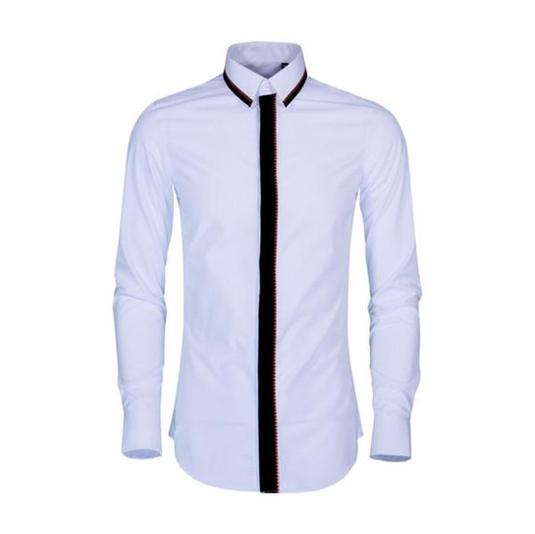 Queda e Onda de Inverno Bordado Camisas de Manga Longa dos homens de Lazer Camisas Brancas Super-Despedida de Algodão Puro Grande Camisas
