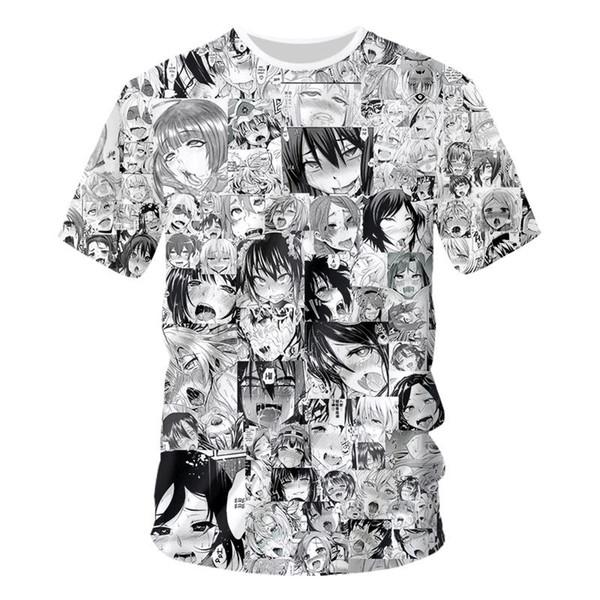 2019 новинка секс мультфильм аниме последние Harajuku стиль 3D напечатаны женщины / мужчины лето с коротким рукавом унисекс 3d футболка свободного покроя топы тис K613