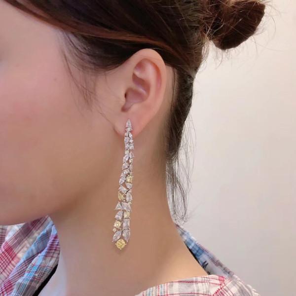 Мода CZ Кристалл мотаться серьги падения Длинной кисточки Rhinestone Teardrop серьга Brincos для женщин Bridal серебра 925 свадебных украшений