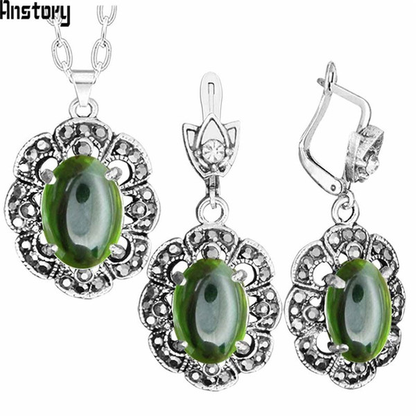 Cheap Sets Transparent Green Crystal Necklace Earrings Jewelry Set Rhinestone Vintage Look Fashion Jewelry For Women TS405